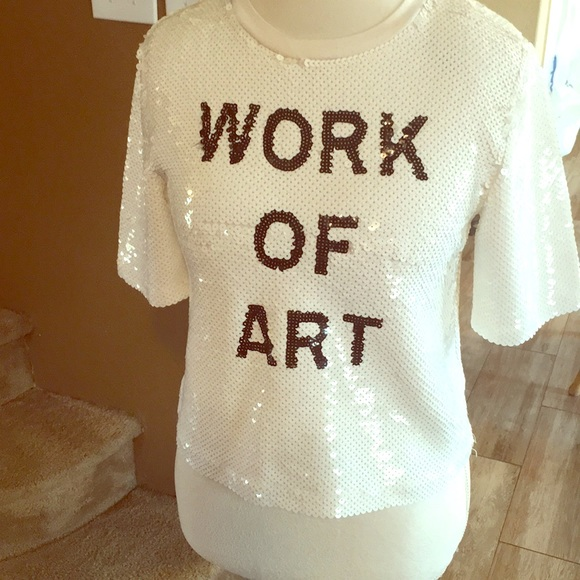 """2c552d9787df8 Forever 21 Tops - Small crop top. All sequins says """"work of art"""""""
